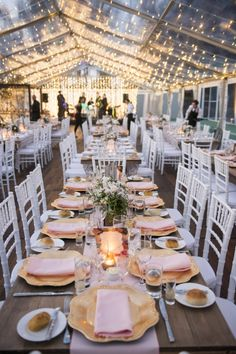 Andrew & Tegan's French Country Wedding / Clear Marquee Reception