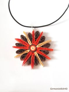 Geometric Quilling Pendant in Warm Colors, Quilled Paper Pendant in Orange and Brown, Quilling Jewelry