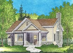 One Bed Cottage with Covered Entry - 22117SL | 1st Floor Master Suite, CAD Available, Cottage, Country, Narrow Lot, PDF, Vacation | Architectural Designs