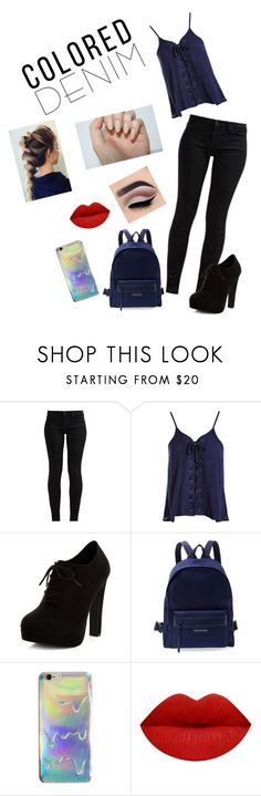 """""""Colored Denim"""" by izzycray ❤ liked on Polyvore featuring 7 For All Mankind, Sans Souci, New Look and Longchamp"""