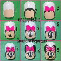 Love Nails, My Nails, Mickey Mouse Nail Art, Gel Nail Art, Nail Designs, Nice Nails, Nail Arts, Disney Nails, Work Nails