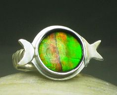 Natural Ammolite Ring Sterling Silver by TazziesCustomJewelry