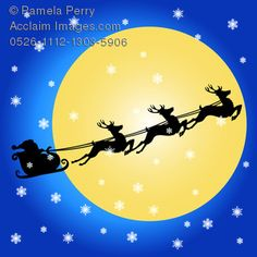 Clip Art Illustration of Santa Flying Across the Night Sky With His Reindeer As Snowflakes Fall