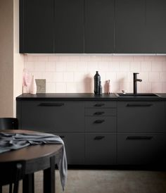 IKEA just keeps upping their sustainability game. bottles are used to create each of these IKEA kitchen units, designed by Swedish studio Form Us With Love. Recycled Kitchen, Black Kitchen Cabinets, Kungsbacka, Kitchen Inspirations, Kitchen Design Trends, Kitchen Remodel, Modern Kitchen, Contemporary Kitchen, Sustainable Kitchen