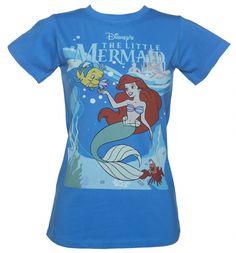 Ladies Blue Walt Disney's The Little Mermaid Scene T-Shirt