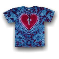 Handmade Adult Short Sleeve T-Shirt Cross My Heart Tie Dye