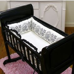 Sweet Lullaby Baby::Cradle and Bassinet Bedding::Black Beauty Cradle Linens 3pc. Set