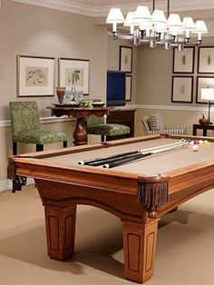 Billiard room... Felt color. Patterned upholstered bar table chairs