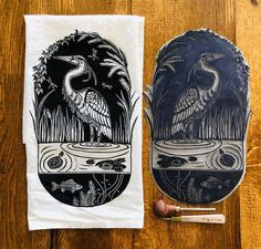 Handcarved heron block hand printed onto a flour sack cotton tea towel. Illustration Inspiration, Wood Craft Patterns, Tarot, Chalk Pastels, Embroidery Fonts, Owl House, Tampons, Textile Artists, Linocut Prints