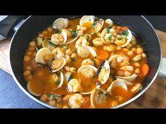 Garbanzos con gambas y almejas. ¡En 20 minutos, comida lista! - YouTube Healthy Crockpot Recipes, Healthy Soup, Clean Recipes, Cooking Recipes, Seafood Recipes, Soup Recipes, Salad Recipes, Pasta Recipes, Slow Cooker Beef