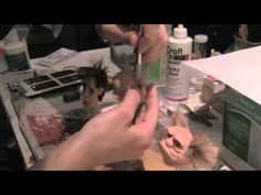 Punching hair on silicone puppets