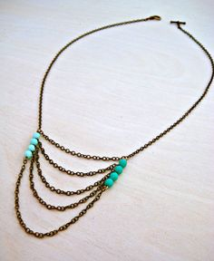 Two-tone Chain Necklace  // Mint  Turquoise //  Women's Jewelry // Western Jewelry
