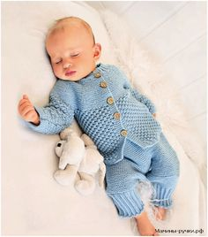Вязаный спицами комплект для мальчика: жакет, штанишки и пинетки (knitting set baby)