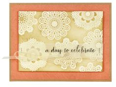 Doilies Celebrate Card - Click through link for supply list and project instructions.
