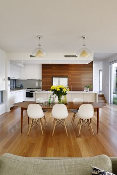 Table and chairs for dining room? Kensington Home by Cambuild: modern, hardwood cherry wood floors, glass and white Wood Floor Kitchen, Kitchen Flooring, Kitchen Dining, New Kitchen, Dining Rooms, Dining Tables, Dining Area, Kitchen White, Kitchen Layout