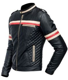 Harmonize with your speed screeches with the slimfit red and white striped biker leather jacket. Available right here at USA Jacket