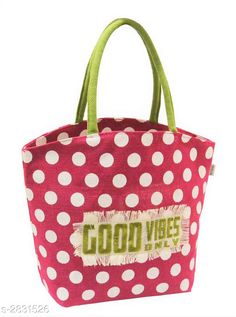 Checkout this latest Handbags Product Name: *Attractive Women's Pink Jute Totes* Material: Jute No. of Compartments: 1 Pattern: Printed Type: Tote & Hobo Multipack: 1 Sizes:Free Size Country of Origin: India Easy Returns Available In Case Of Any Issue   Catalog Rating: ★4.1 (597)  Catalog Name: Ensemble Attractive Totes Bag Vol 1 CatalogID_384387 C73-SC1073 Code: 342-2831526-444