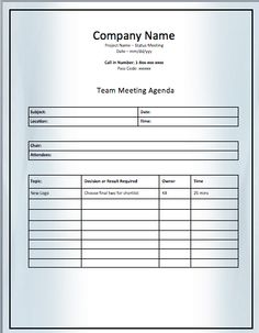 Agenda Meeting Example New Meeting Agenda Template  Readymade Templates  Pinterest .