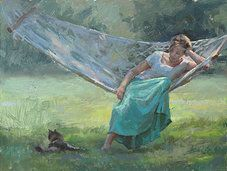 Andrea Orr Clague Paintings, Downtime, 9 x 12, oil on panel.  [sold]