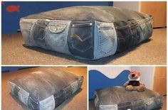 nice variation of the recycled jeans pillow!