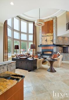 Country Neutral Living Room with High Ceilings