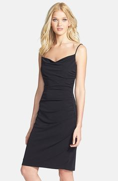 Free shipping and returns on Laundry by Shelli Segal Spaghetti Strap Ruched Jersey Dress at Nordstrom.com. Soft draping that begins at the neckline reverberates down the front of a simple yet seductive cocktail dress.