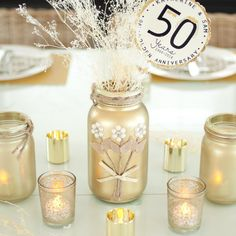 Gold Mason Jar Rustic Wedding Mason Jar Decor by AmericanaGloriana