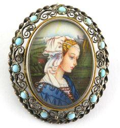 Antique Vintage 800 Silver Italian Handpainted Portrait Brooch Pendant