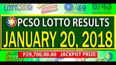 PCSO Lotto Results - January 20, 2018 | 6/55, 6/42, 6D, SWERTRES & EZ2 L... Lotto Results, January 2018, December 26, July 24, Youtube, Youtubers, Youtube Movies
