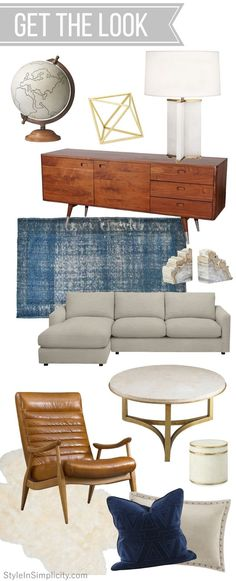 Get the Look // Mid-century Modern Inspired Living Room eDesign via StyleInSimplicity.com