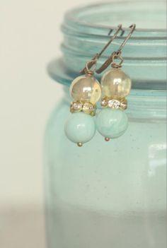 Aqua   Pale greenish blue   bead earrings, glass jar