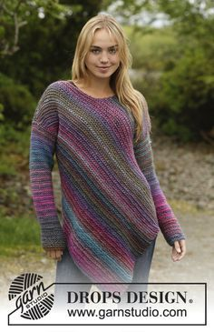 Sideways Glance jumper worked sideways by DROPS Design. Free knitting pattern