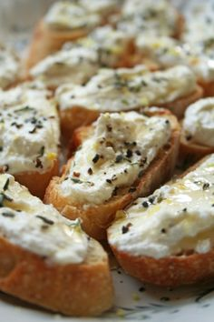 Lemon-Thyme Bruschetta--ricotta, lemon zest, salt/pepper, honey, fresh thyme & one baguette. Light and airy and tasty as well.