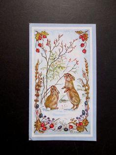 #K292- RARE Vintage Tasha Tudor Xmas Greeting Card Winter Bunnies Eating Berries