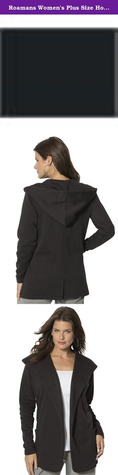 """Roamans Women's Plus Size Hooded Sweatshirt Cardigan Black,1X. This hooded cardigan can be worn open or closed for a customized look. relaxed silhouette open wrap front oversized lapels long sleeves two front patch pockets center back seam with vent belt at waist straight hem drops to about 30"""" cotton/polyester fleece, machine wash, imported In Style Now!Wrap yourself in cozy comfort with this soft hooded cardigan."""