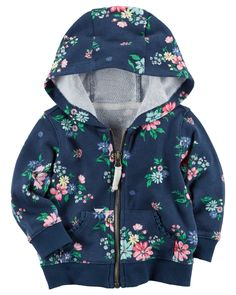 Baby Girl Stuff: Zip-Front Floral French Terry Hoodie