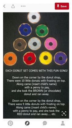 10 Little Donuts Felt Board Story // Flannel Board // Pretend Play // Quiet Time // Matching // Colors Flannel Board Stories, Felt Board Stories, Felt Stories, Flannel Boards, Preschool Colors, Preschool Songs, Preschool Learning, Kids Songs, Kindergarten Poems
