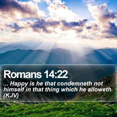 Romans 14:22   ... Happy is he that condemneth not himself in that thing which he alloweth. (KJV)   #Apologetics #Friendship #DailyBible #EndofDays   http://www.bible-sms.com/