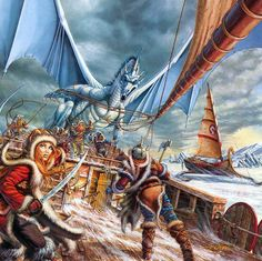 """Dragons of the Highlord Skies // """"Laurana and the Ice Wall Crew"""" (as I like to collectively call Sturm, Flint, Tas, Gilthanas, Elistan, Derek, Brian, and Aran) escaping Sleet the white dragon"""