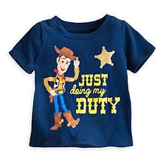 Disney Woody Tee for Baby | Disney StoreWoody Tee for Baby - Sheriff Woody keeps the west from getting too wild by ''Just doing my duty.'' This all-cotton tee is awarded a gold star as Toy Story's lawman shows off his Sheriff badge and enlists your little one into his posse.