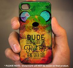 Adventure Time Finn Quote Galaxy Nebula - for iPhone 4 case iphone 4S case iPhone 5 Case iphone 4/4s/5 Case Hard Cover via Etsy