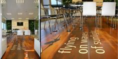 More original uses of #Emotile #ceramics:  messages on the #floors.
