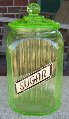 Vintage Hocking Green Depression Sugar Kitchen Canister w Lid....I have my Nana's in my kitchen now