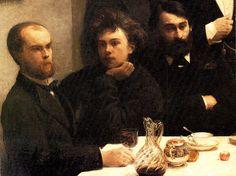 """Verlaine and Rimbaud detail in the famous painting """"Un coin de table"""" (1872) by Henri Fantin-Latour"""