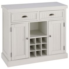 Showcasing a beadboard-inspired design and white finish, this classic buffet brings stylish organization to your kitchen or dining room. 2 doors and 2 drawer...