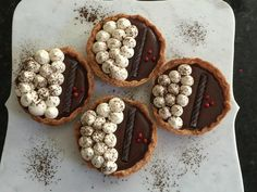 Soft Chocolate Ganache Tarts with Pink Peppercorn Infused Whipped Cream