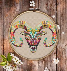 Mandala Goath Cross Stitch Pattern $3.95