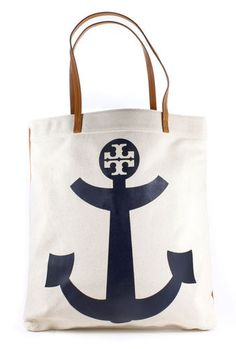 Tory Burch Flat Tote Canvas and Leather Bag Anchor Natural