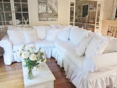 What a difference a slipcover makes(and where to get this one )(from Junk Chic Cottage)
