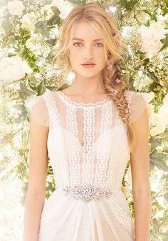 b90742f6a9 Chiffon sheath dress with lace detail Wedding Gowns
